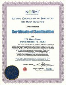 Certificate Of Sanitization